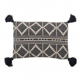 An Image of Black and White Tassle Cushion