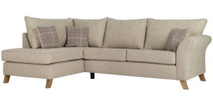 An Image of Argos Home Kayla Left Corner Fabric Sofa - Beige