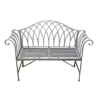 An Image of Wrought Iron 2 Seater Grey Bench Grey