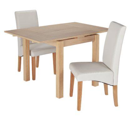 An Image of Habitat Clifton Oak Extending Table & 2 Cream Chairs