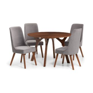 An Image of Huxley Walnut Table & 4 Chairs Set Grey