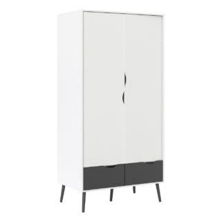 An Image of Viken 2 Door 2 Drawer Wardrobe - White and Black