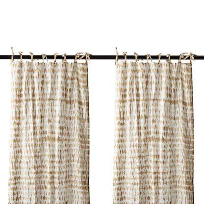 An Image of Pair of Tie Dye Hanging Drapes Mustard