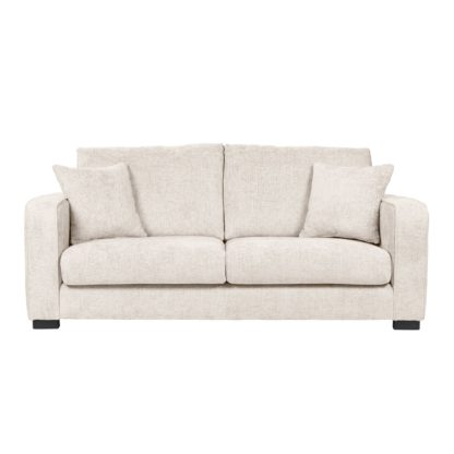 An Image of Carson Chunky Chenille 3 Seater Sofa Pebble