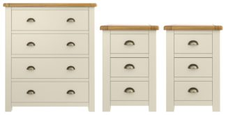 An Image of Habitat Kent 2 Bedsides & 4 Drawer Set - Cream & Oak