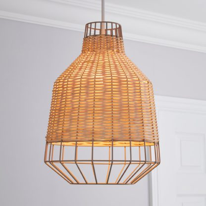 An Image of Ohio Light Rattan Easy Fit Pendant Brown