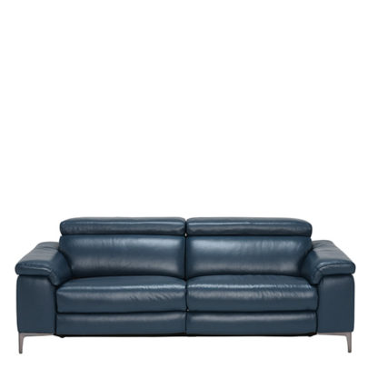 An Image of Paolo Leather 3.5 Seater Recliner Sofa Melbourne Navy Blue M5661