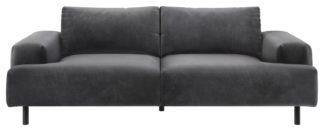 An Image of Habitat Julien 3 Seater Velvet Sofa - Grey
