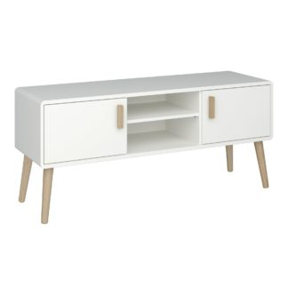An Image of Pavona Wide TV Stand White