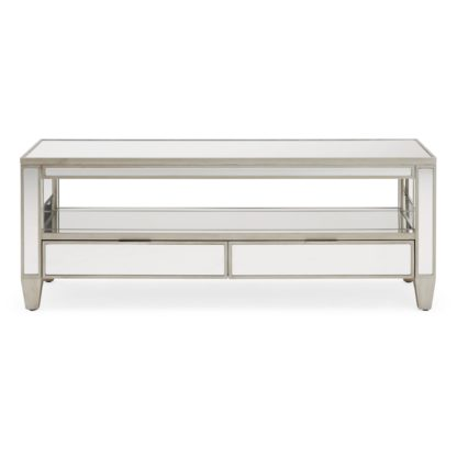 An Image of Fitzgerald Mirrored TV Stand Silver