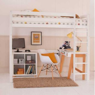 An Image of Buddy Childrens Beech Highsleeper Loft Bed With Desk and Storage Bookc