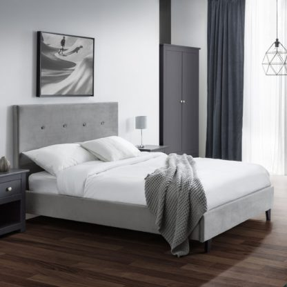 An Image of Shoreditch Fabric Bed Frame Grey