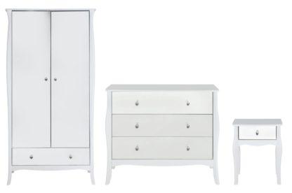 An Image of Argos Home Amelie 3 Piece 2 Door Mirror Wardrobe Set - White