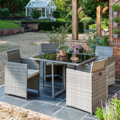 An Image of St Lucia 4 Seater Grey Cube Dining Set Light Grey