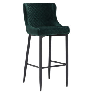 An Image of Rivington Fabric Bar Stool Dark Green