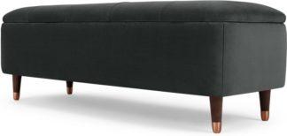 An Image of Margot Ottoman Storage Bench, Midnight Grey Velvet