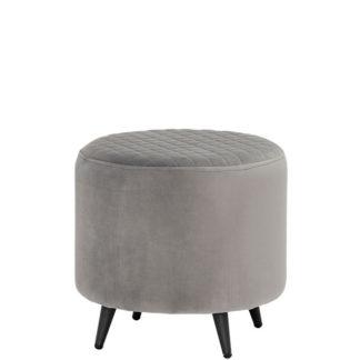 An Image of Rivington Velvet Footstool Grey