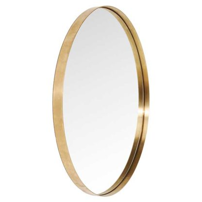 An Image of Curve Round Mirror Brass