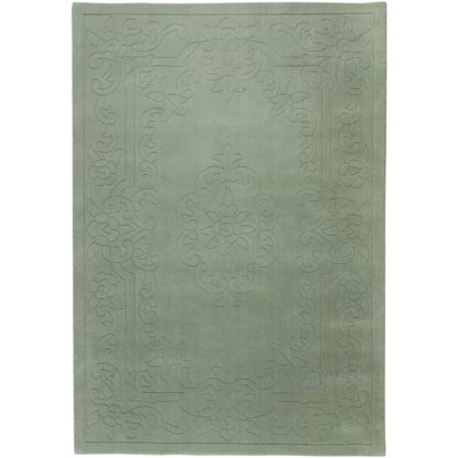 An Image of Traditional Sage Wool Rug Green
