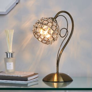 An Image of Bergen Crystal Antique Brass Table Lamp Antique Brass