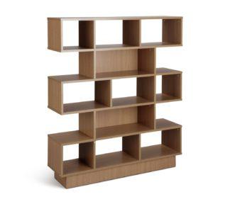 An Image of Habitat Cubes 5 Tier Wide Bookcase - Oak Effect