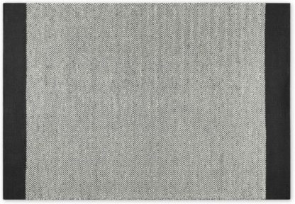 An Image of Forio Wool Chevron Flat Weave Rug, Large 160 x 230cm, Black & White