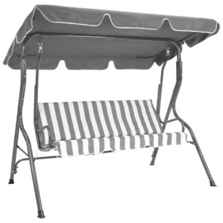 An Image of Striped 2 Seater Grey Garden Swing Bench Grey