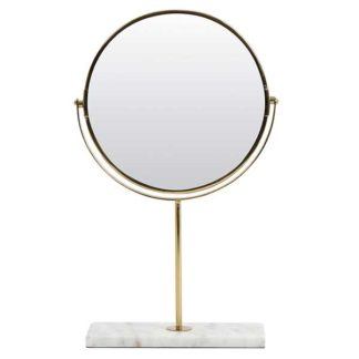 An Image of Gold Mirror on Marble Stand