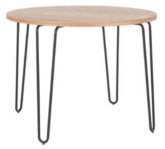 An Image of Habitat Tyler Ash & Black Metal Round 4 Seater Dining Table