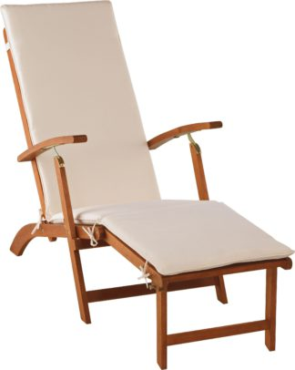 An Image of Argos Home Wooden Sun Lounger with Cushion - Cream