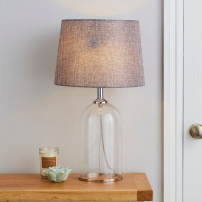 An Image of Lenny Glass Clear Table Lamp Clear