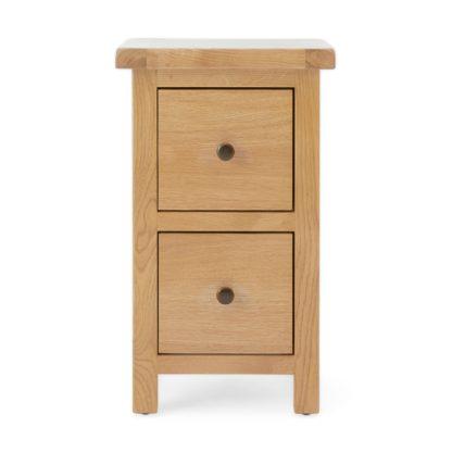 An Image of Sherbourne Oak Slim Bedside Table Natural