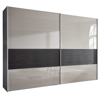 An Image of Riga 2 Door Sliding Wardrobe Pebble Glass and Structure Graphite