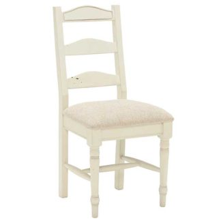 An Image of Carisbrooke Dining Chair with Turned Legs and Fabric Seat Stucco Whit