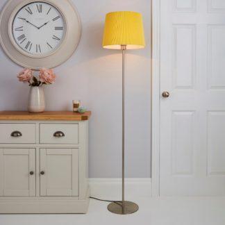 An Image of Tula Micro Pleat Ochre Shade Floor Lamp Ochre