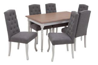 An Image of Argos Home Le Marais Oak Veneer Dining Table & 6 Grey Chairs