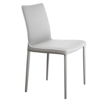 An Image of Bontempi Nata Leather Dining Chair Eco Light Grey
