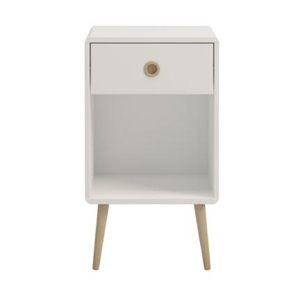 An Image of Softline 1 Drawer Bedside Table White