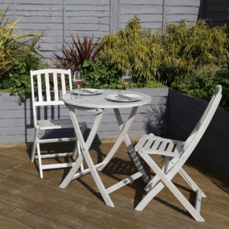 An Image of Acacia Washed Wood Bistro Set Washed White
