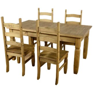 An Image of Corona Extending 4 Seater Dining Set Brown