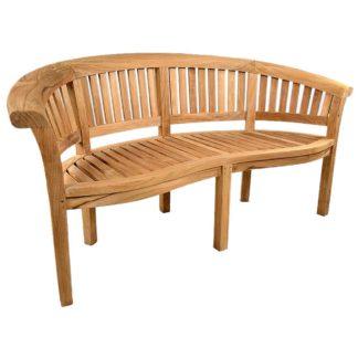 An Image of Windsor Curved Teak Garden Bench Brown
