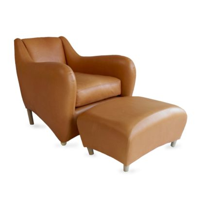 An Image of SCP Balzac Chair & Footstool Utah Russet Leather Natural Fibre Filling
