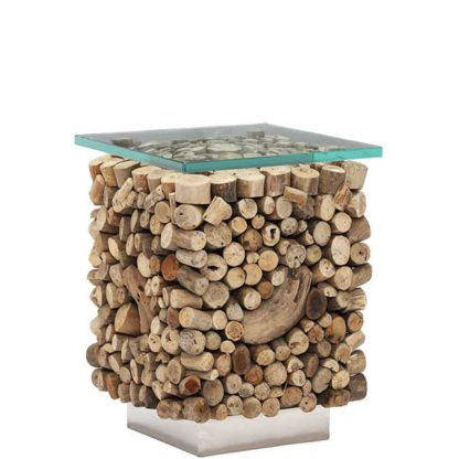An Image of Caspian Solace Natural Driftwood and Glass Sidetable