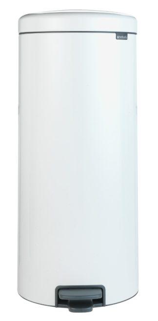 An Image of Brabantia 30 Litre Newlcon Pedal Bin - White