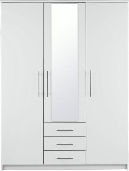 An Image of Argos Home Normandy 3 Door 3 Drawer Mirror Wardrobe - White
