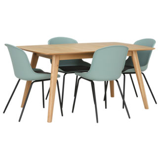 An Image of Lund Extending Dining Table and 4 Green Leon Chairs