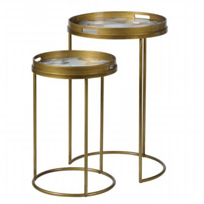 An Image of Pair of Tray Side Tables Gold and Marble effect