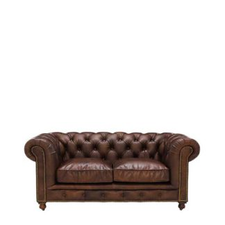 An Image of Asquith Leather 2 Seater Chesterfield Sofa