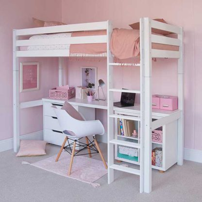 An Image of Buddy Childrens Beech Highsleeper Loft Bed With Full Length Desk Stor
