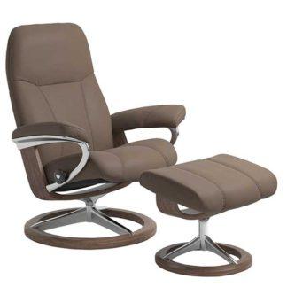 An Image of Stressless Consul Signature Medium Chair Stool Batick Mole Walnut
